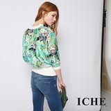 ICHE 衣哲 繽紛立體印花透視感拼接時尚造型外套