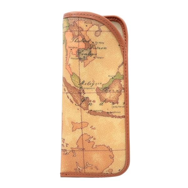 Alviero Martini 義大利地圖包 眼鏡收納套-地圖黃