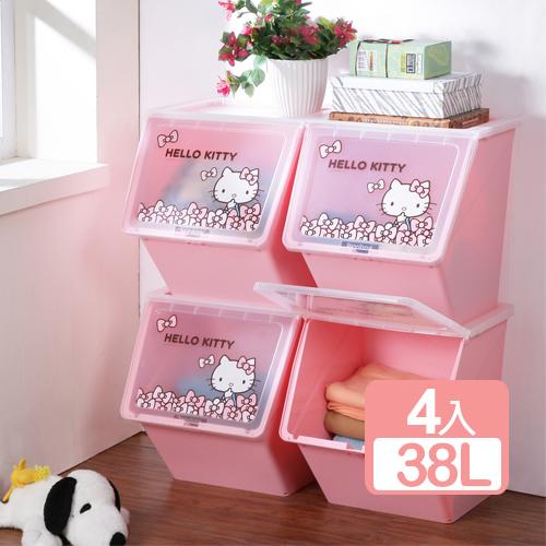 樹德 X Hello Kitty  可疊式收納箱38L(4入)
