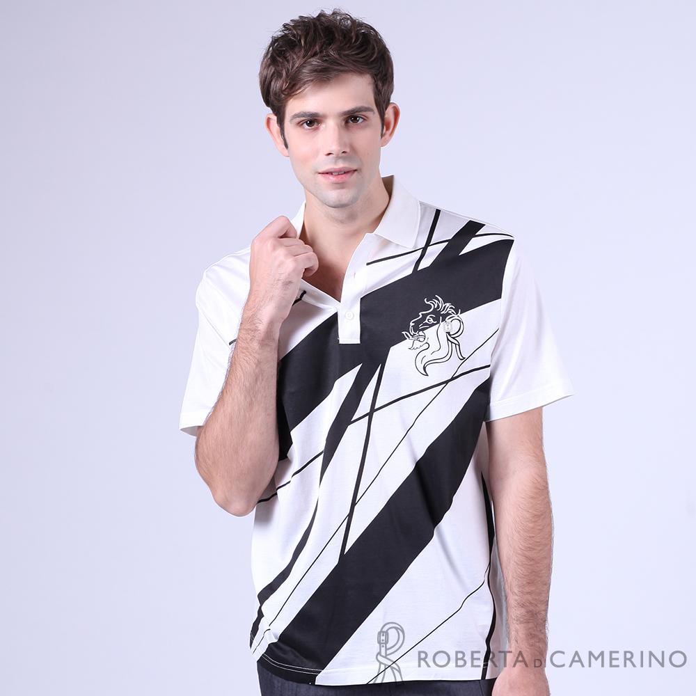 ROBERTA諾貝達 台灣製 光滑柔軟 純PIMA棉休閒短袖POLO棉衫 白色