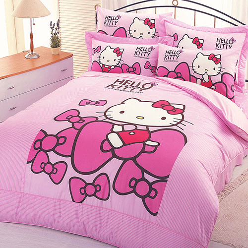 【享夢城堡】HELLO KITTY 蝴蝶結系列-精梳棉雙人床包涼被組(粉)