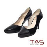 TAS 特殊鏤空剪裁拼接羊皮高跟鞋-性感黑