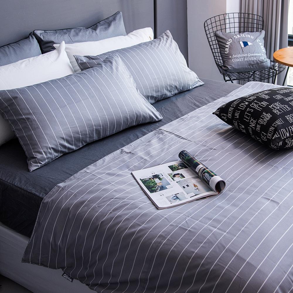 OLIVIA 《艾德蒙 淺灰》 單人兩用被套床包三件組【灰色丹寧織紋床包】