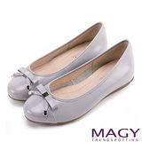 MAGY 清新氣質系女孩 織帶蝴蝶結雙皮質拼接娃娃鞋-粉紫