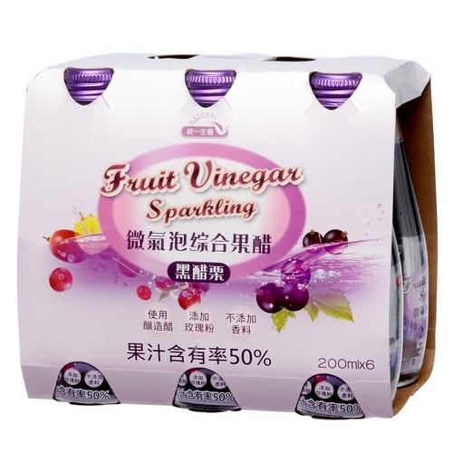 [統一生機]微氣泡綜合果醋-黑醋栗(200ml*6入)