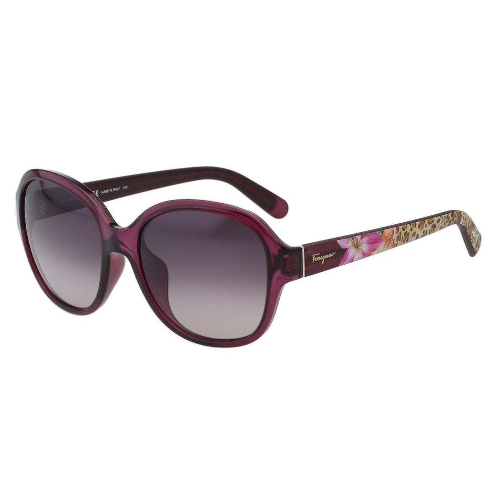 Salvatore Ferragamo- 時尚太陽眼鏡(透明紫色)