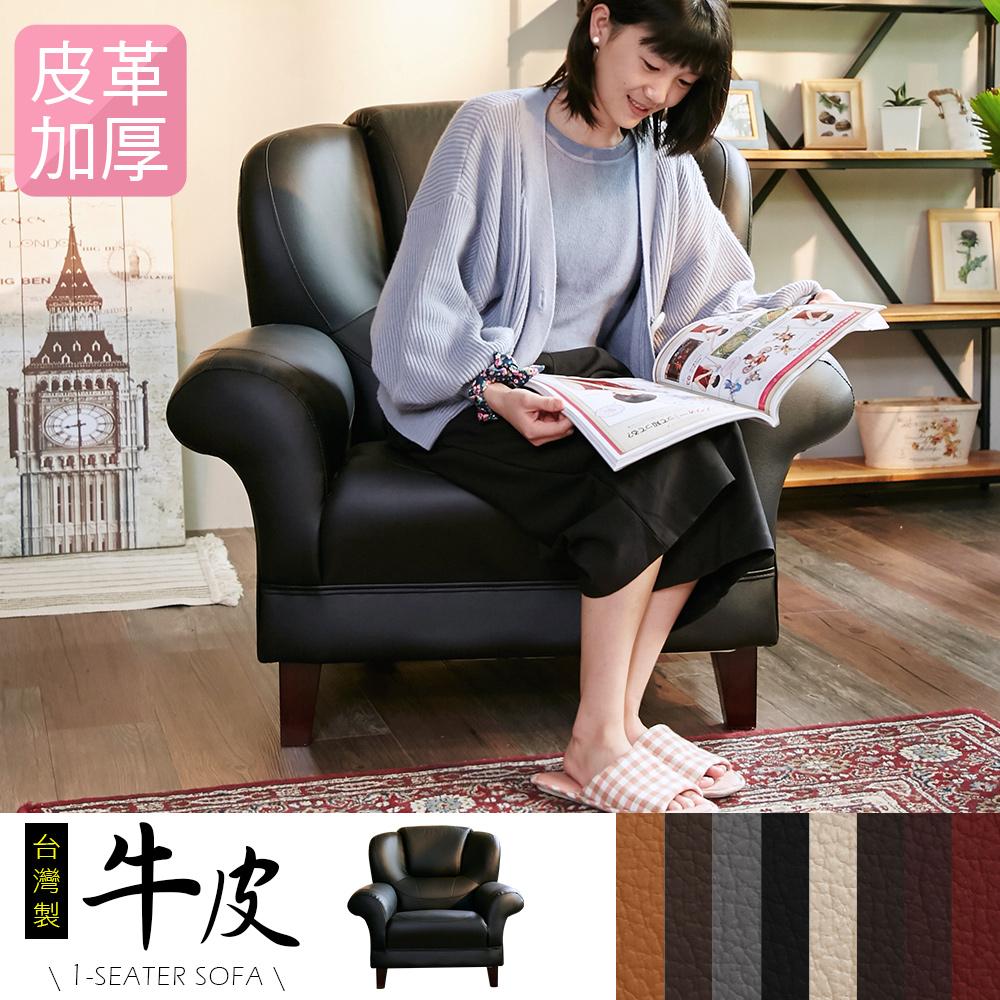 IHouse-長野經典傳奇加厚款牛皮1人坐沙發-8色