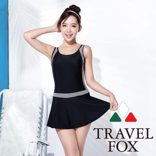 【旅狐TRAVEL FOX】大女顯瘦連身帶裙泳衣C16705