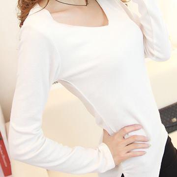 【Stoney.ax】韓版素雅長袖微磨毛打底衫(小V領)-白色