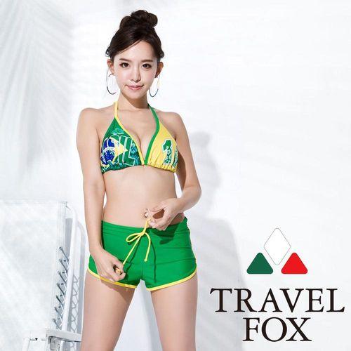 【夏之戀TRAVEL FOX】大女足球風比基尼三件式泳衣-C16721