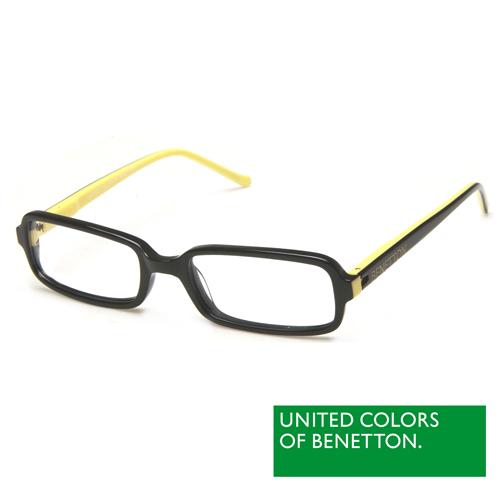 BENETTON 班尼頓 專業兒童眼鏡簡約時尚設計系列(黑黃 BB034-01)