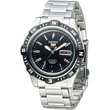 SEIKO 尖端盾牌5號24石機械腕錶-IP黑框(SRP139K1)