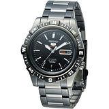 SEIKO 尖端盾牌5號24石機械腕錶-全IP黑(SRP141K1)