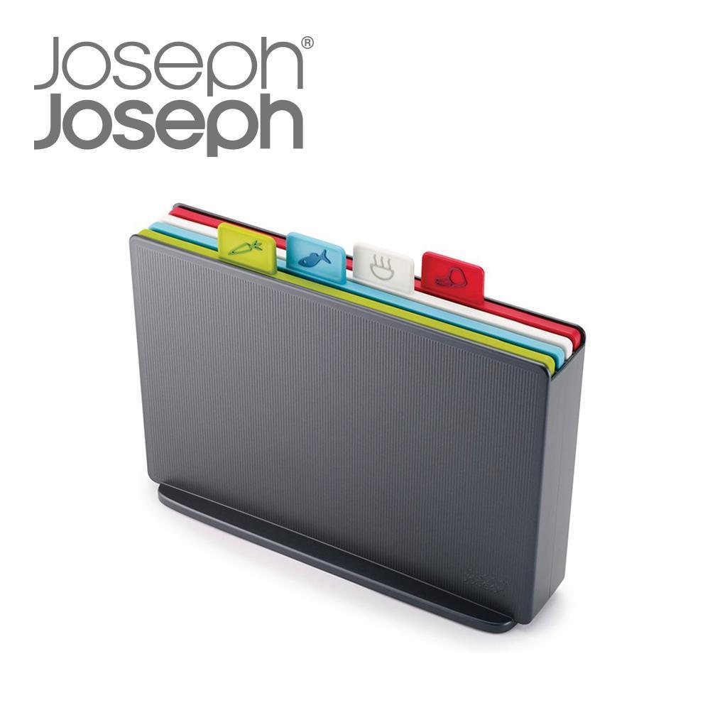 Joseph Joseph英國創意餐廚★檔案夾止滑砧板組-雙面附凹槽(小灰)★