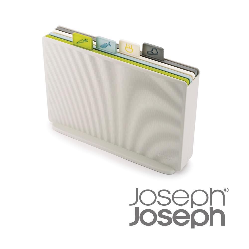 Joseph Joseph英國創意餐廚★檔案夾止滑砧板組-雙面附凹槽(自然色)★
