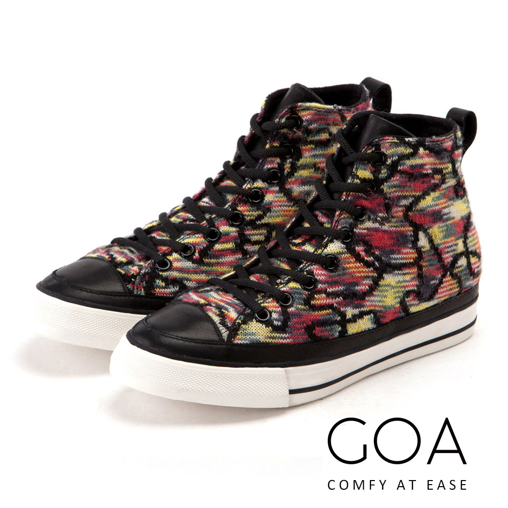 GOA 麗貝卡_內增高針織綁帶休閒鞋