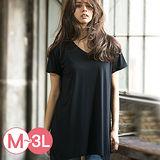 日本ANNA LUNA 預購-不規則下擺反折袖V領T恤(共六色/M-3L)