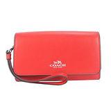 COACH 專櫃款 馬車素色皮革手拿/手機包(紅)54435