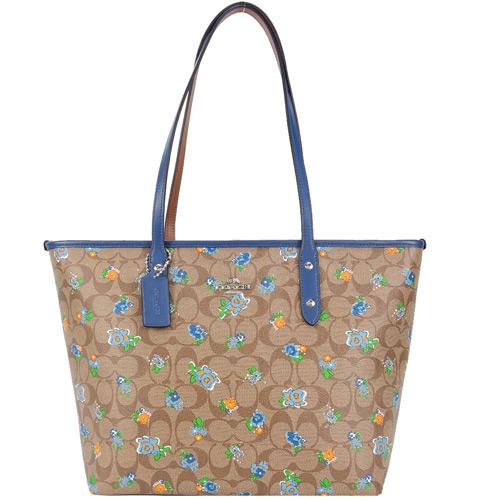 COACH 馬車花卉塗鴉托特包(卡其藍)F57888