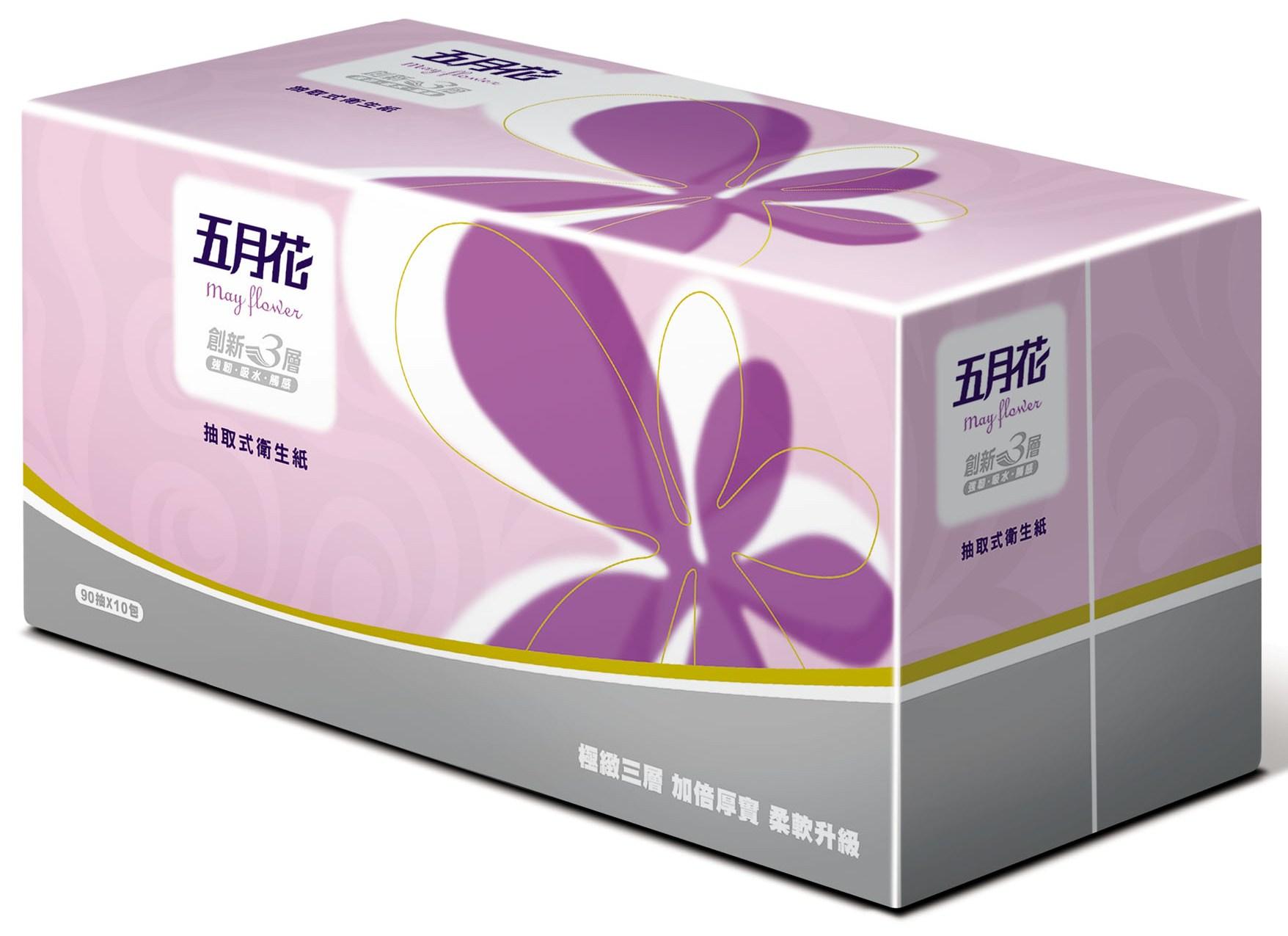 【五月花】三層抽取式衛生紙(90抽x10包x6串)/箱