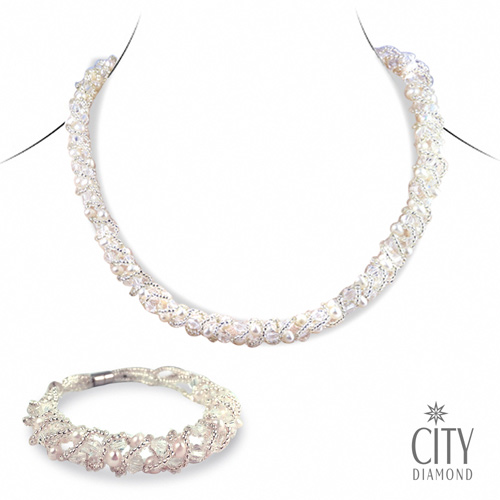 City Diamond引雅 珍珠套組(項鍊+手鍊)