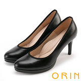 ORIN 簡約時尚名媛 嚴選羊皮質感素面高跟鞋-黑色
