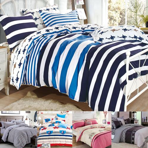 (加大任選)新款上市 FOCA 100%精梳棉四件式舖棉兩用被床包組