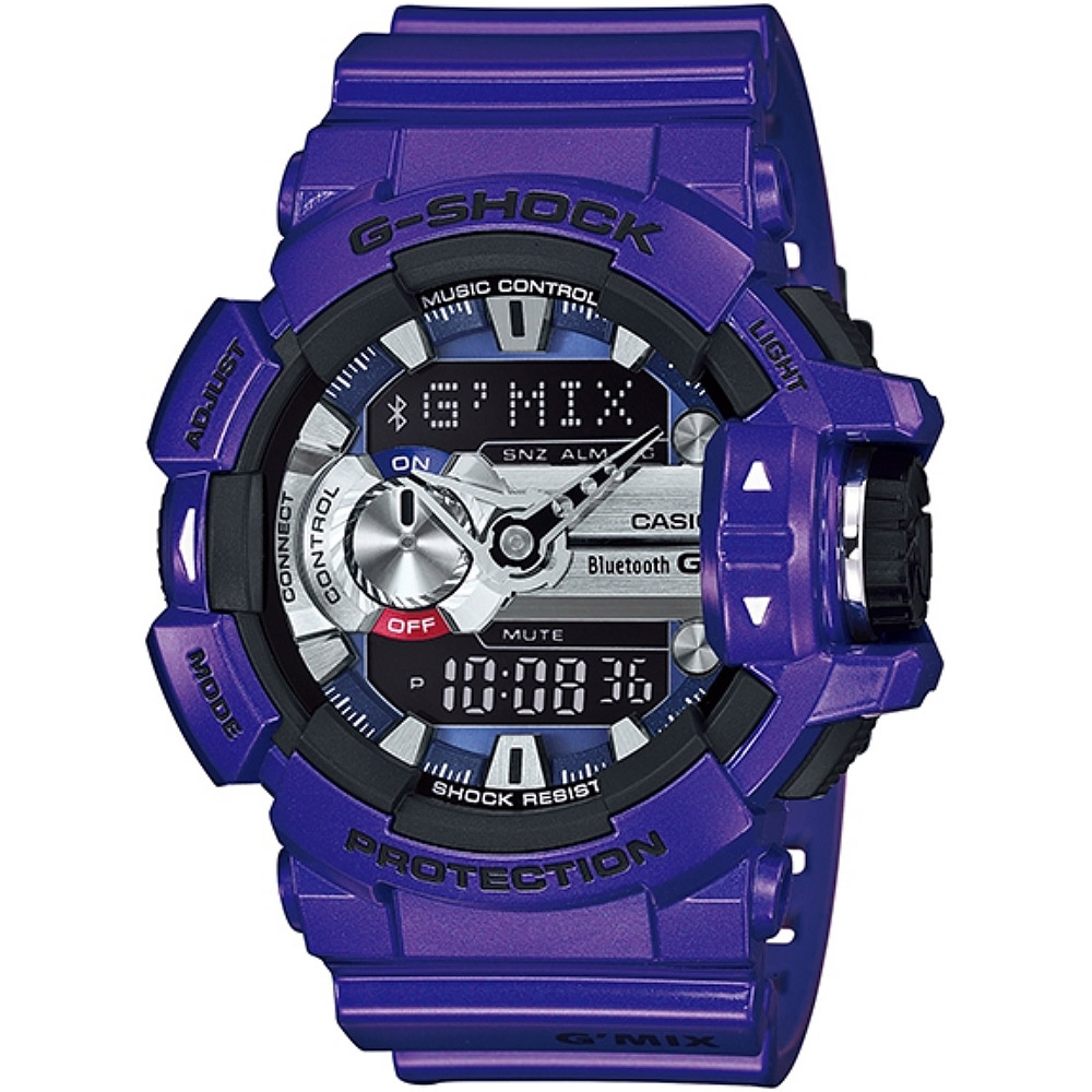 CASIO G-SHOCK G'MIX GBA-400音樂控制系列錶款-靛藍紫(GBA-400-2A)