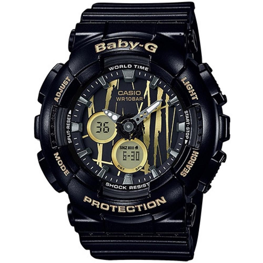 CASIO BABY-G BA-120金色隨性塗鴉雙顯腕錶-俞利佩戴款(BA-120SP-1A)