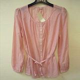 日本CIELO 現貨-UNIQLO直條紋綁帶襯衫(粉紅/M)