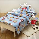 義大利Fancy Belle X DreamfulCat《愛麗絲茶會-藍》兒童純棉防蹣抗菌兩用被枕頭2件組