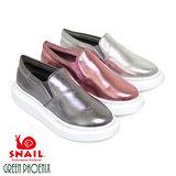 SNAIL蝸牛 韓系金屬光感V型鬆緊套入式加寬厚底休閒鞋(女鞋)