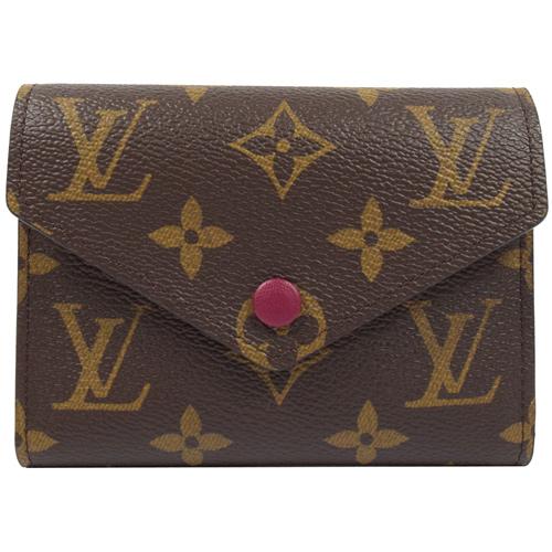Louis Vuitton LV M41938 Victorine 經典花紋扣式錢短夾.紫紅_現貨