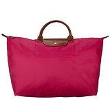 Longchamp 豔彩繽紛大型旅用水餃包-桃紅色