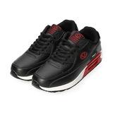 (男) GIOVANNI VALENTINO 素色復古氣墊休閒鞋 黑紅 男鞋 鞋全家福