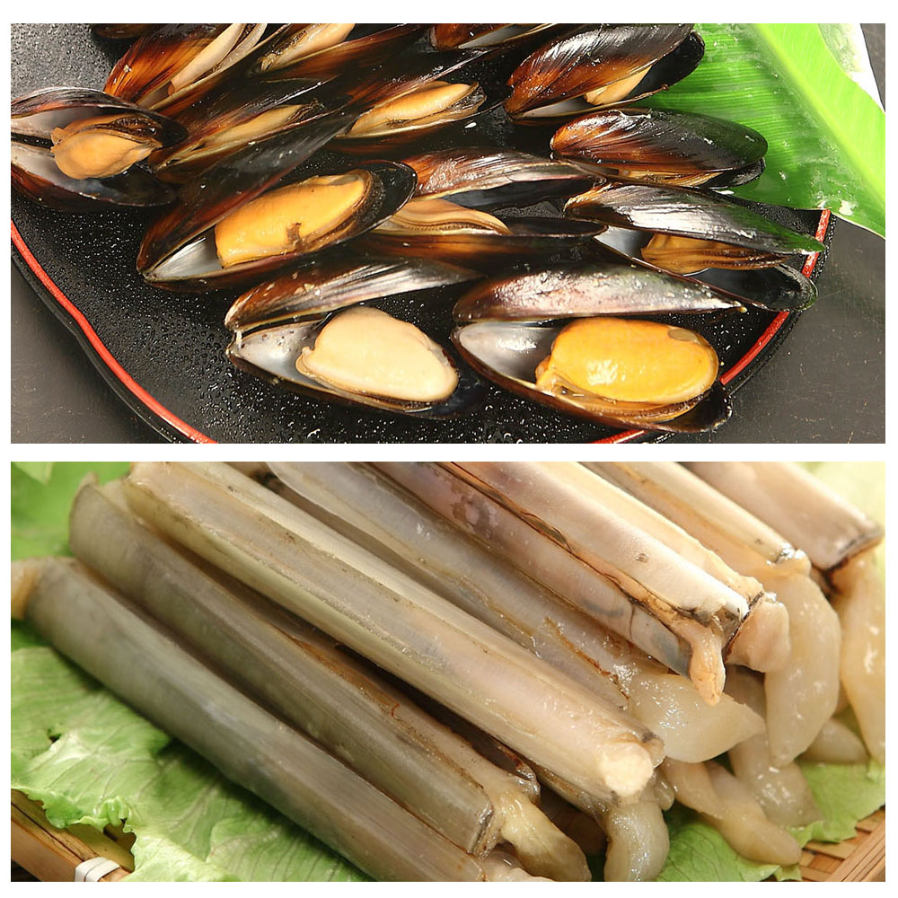 買3送3共6包【優食配】鮮味十足活凍竹蛤+熟淡菜3包組