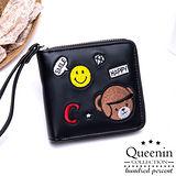 DF Queenin皮夾 - 可愛刺繡仿皮款單拉鍊短夾-共2色
