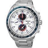SEIKO 精工 Prospex 海世界時間時尚腕錶-白/44.6mm V195-0AB0S(SSC485P1)