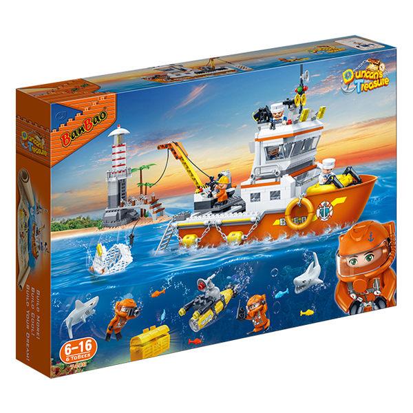 【BanBao 積木】海洋系列-遠洋探險隊 7408(樂高通用)