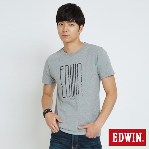 EDWIN 數位雜訊LOGO短袖T恤-男-麻灰色