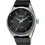 CITIZEN 星辰 光動能渦輪時尚腕錶-黑皮帶/42mm BM6981-13E