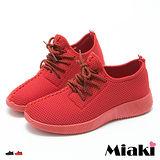【Miaki】慢跑鞋韓系運動透氣綁帶厚底包鞋 (紅色 / 黑色)