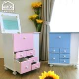 【Amos】日系粉嫩色大型移動化妝櫃