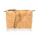 Alviero Martini 義大利地圖包 尼龍拉鍊收納化妝包(大)-地圖黃