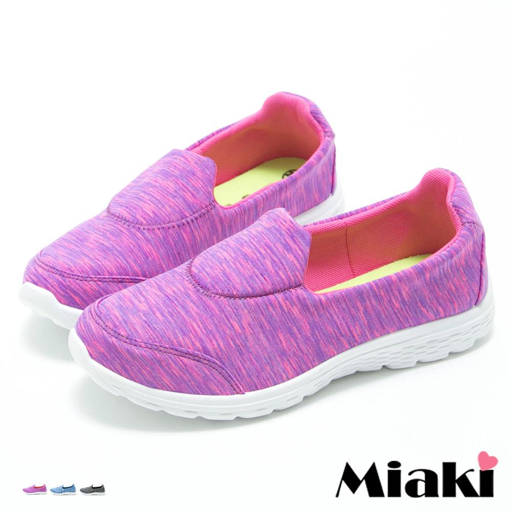 【Miaki】MIT 休閒鞋日系混織輕量舒適厚底懶人包鞋 (桃色 / 藍色 / 黑色)