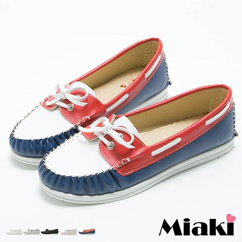 【Miaki】MIT 樂福鞋日系簡約穿繩車線厚底休閒懶人包鞋 (灰色 / 白色 / 粉色 / 藍色 / 黑色 )