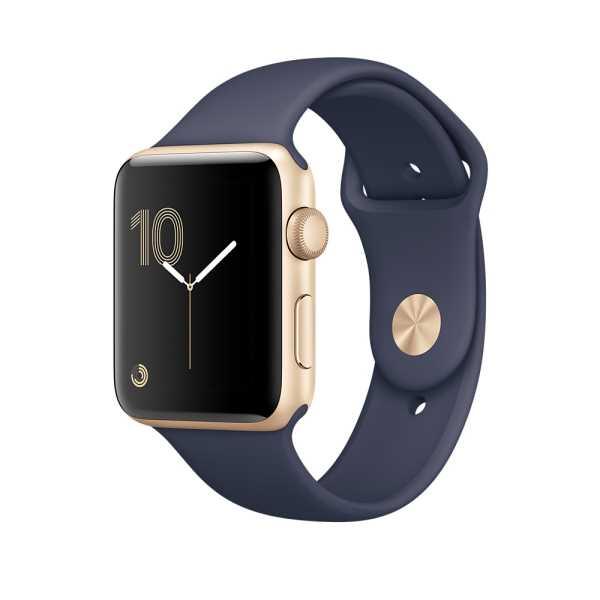 Apple Watch Series 2 智慧型手錶 (38mm) /A 38公釐 金色鋁金屬錶殼搭配午夜藍色運動型錶帶 【MQ132 TA/A】