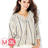 日本ANNA LUNA 預購-率性V領落肩袖襯衫(共四色/M-3L)