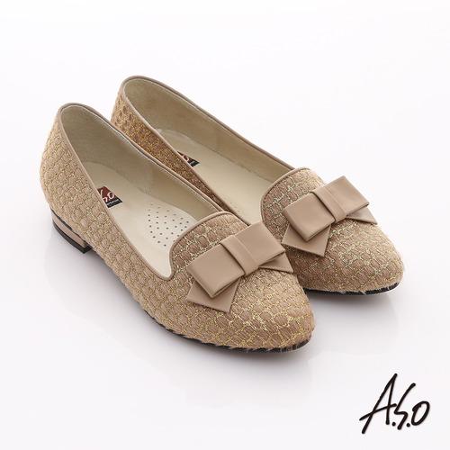 A.S.O 典雅舒適 金蔥網格蝴蝶結飾低跟樂福鞋(卡其)