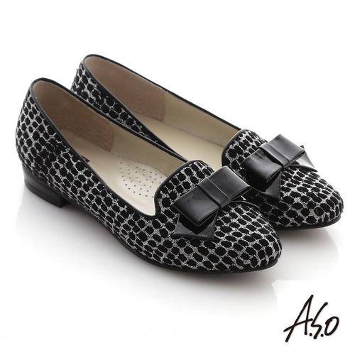 A.S.O 典雅舒適 金蔥網格蝴蝶結飾低跟樂福鞋(黑)